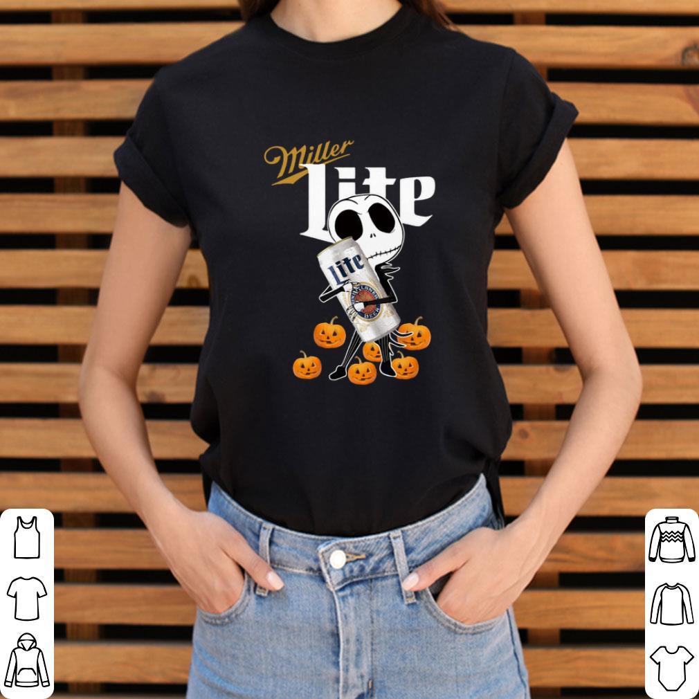 Awesome Jack Skellington hug Miller Lite pumpkins shirt