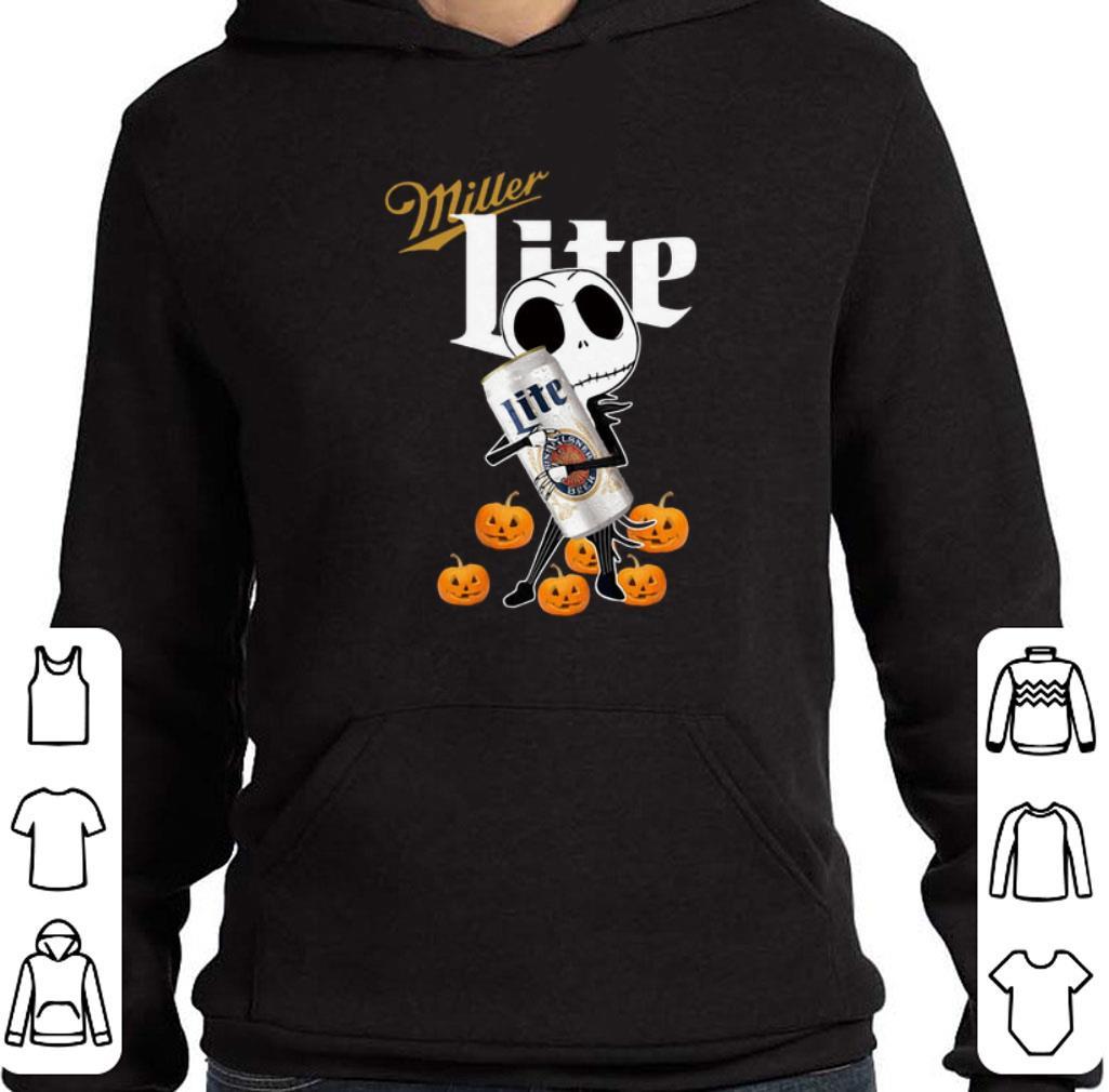 Awesome Jack Skellington hug Miller Lite pumpkins shirt 4 1 - Awesome Jack Skellington hug Miller Lite pumpkins shirt