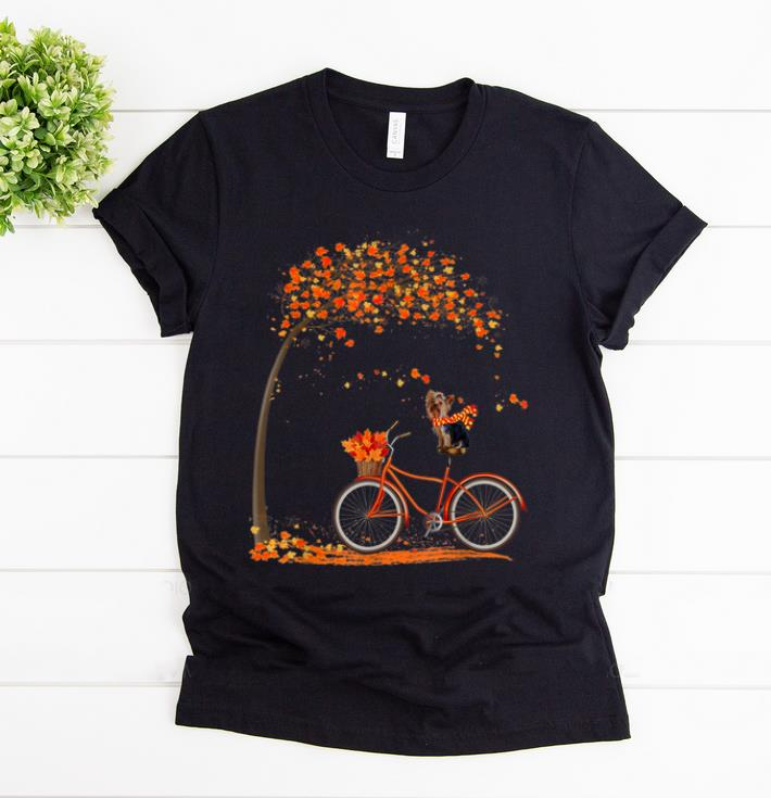 Awesome Lovely Yorkie In Fall - Dog Riding Bicycle shirt
