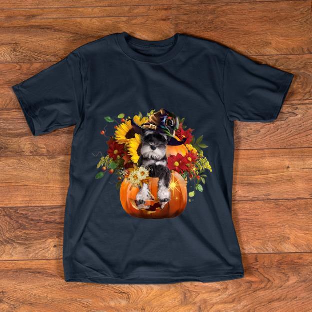 Awesome Miniature Schnauzers Pumkin Halloween Flower shirt