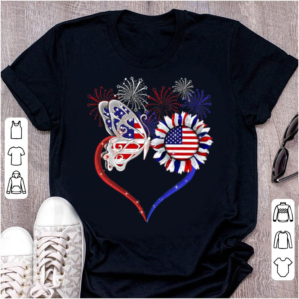 Nice Love Sunflower American Flag Fireworks Butterfly shirt