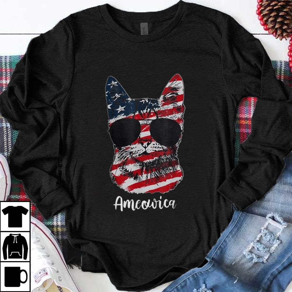 Official Ameowica Meow Cat American Flag 4th of July Patriotic shirt