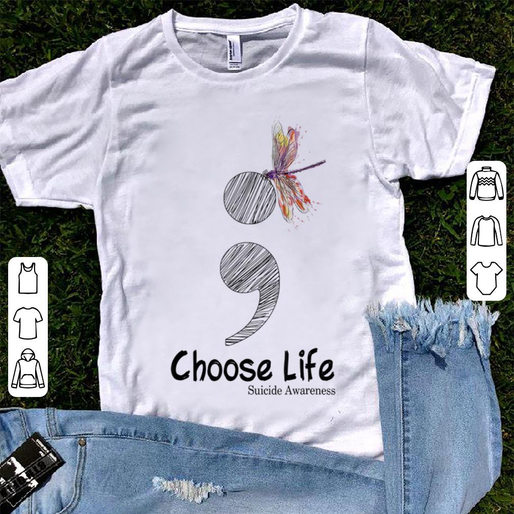 Official Colorful Dragonfly Choose Life Suicide Awareness shirt
