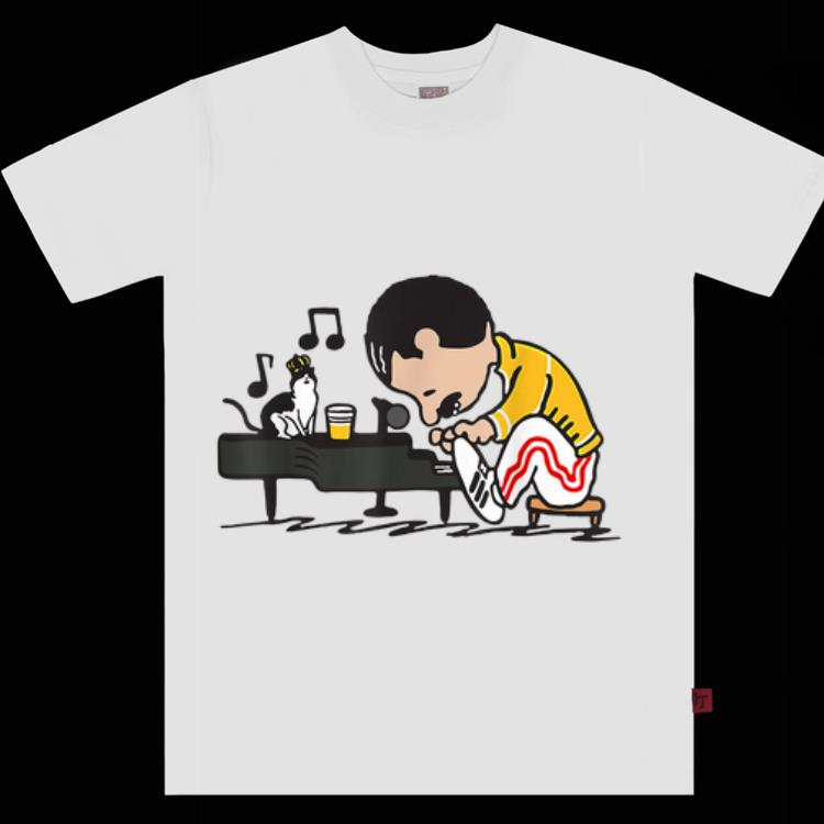 Official Freddie Mercury Playing Piano And Cat shirt 1 - Official Freddie Mercury Playing Piano And Cat shirt