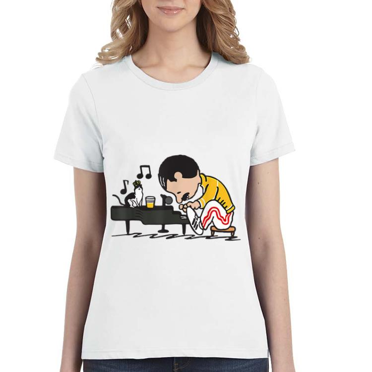 Official Freddie Mercury Playing Piano And Cat shirt