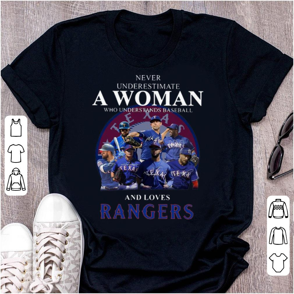 Official Never Underestimate A Woman Who Loves Rangers shirt