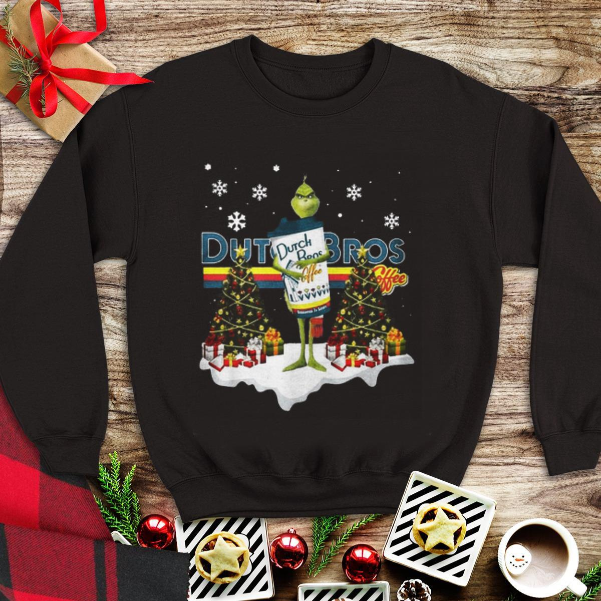 Premium Christmas Tree Grinch Hug Dutch Bros Coffee shirt