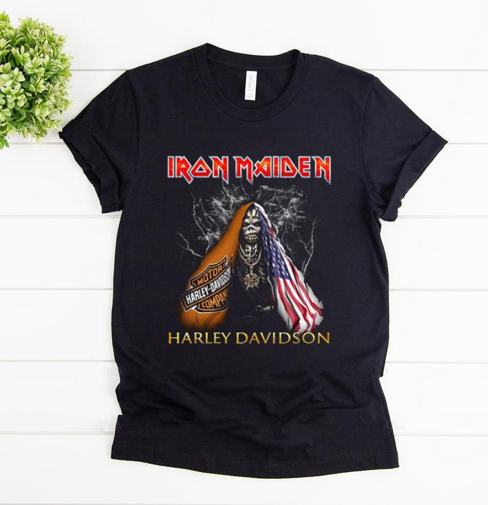 Premium Iron Maiden Harley Davidson Skull American Flag shirt 1 - Premium Iron Maiden Harley Davidson Skull American Flag shirt