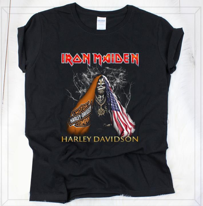 Premium Iron Maiden Harley Davidson Skull American Flag shirt