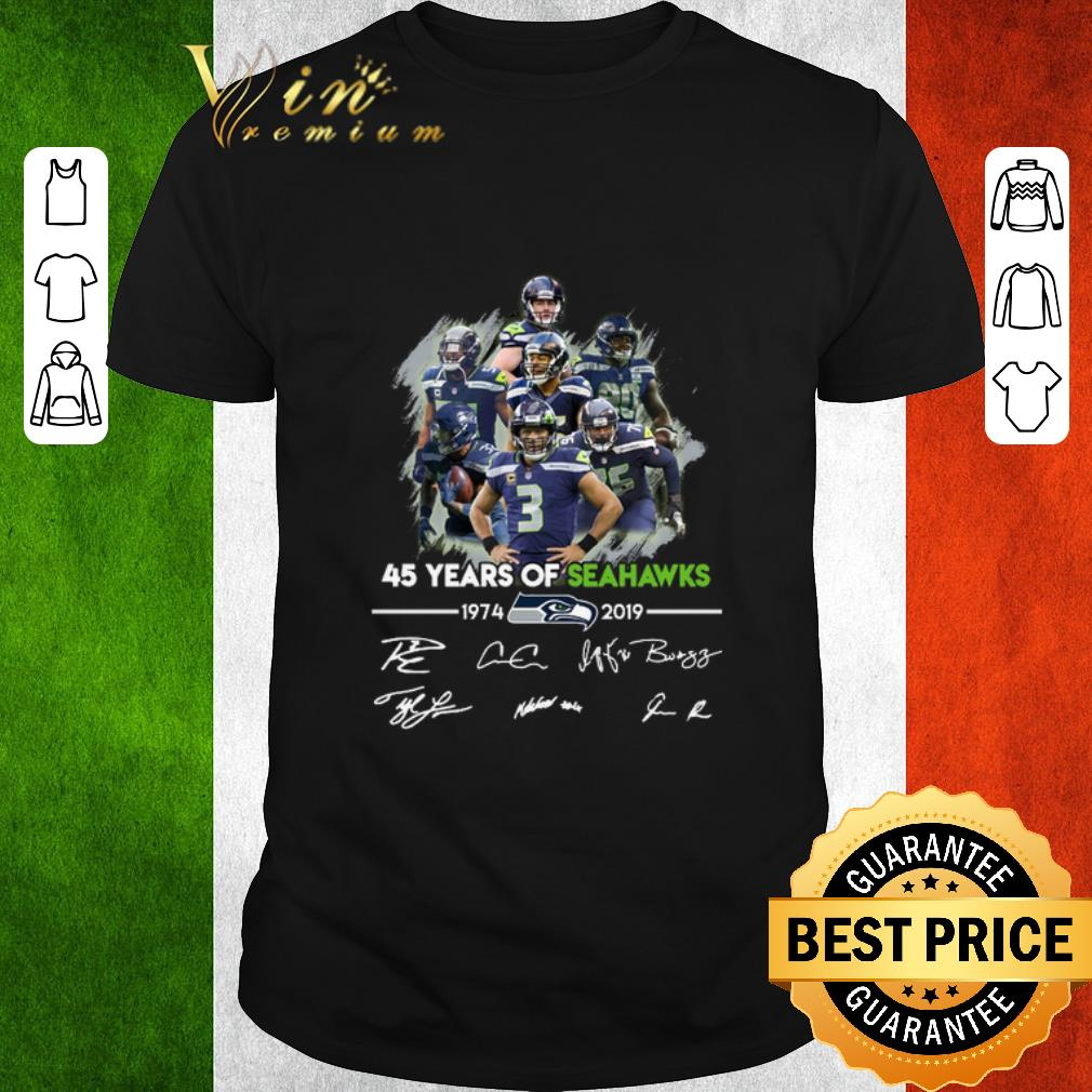 Pretty 45 years of Seattle Seahawks 1974-2019 signatures shirt