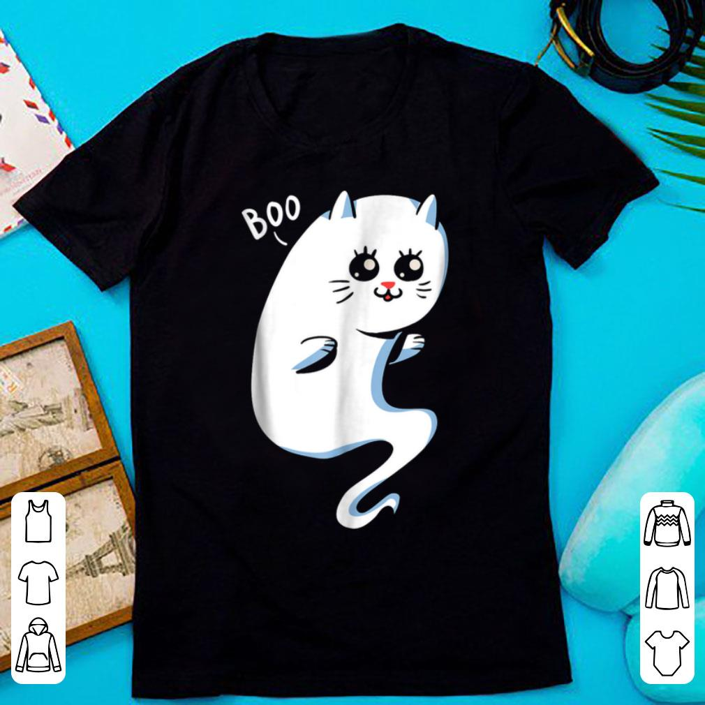 Top Cute Ghost Cat - Boo Kitty Cat Halloween shirt