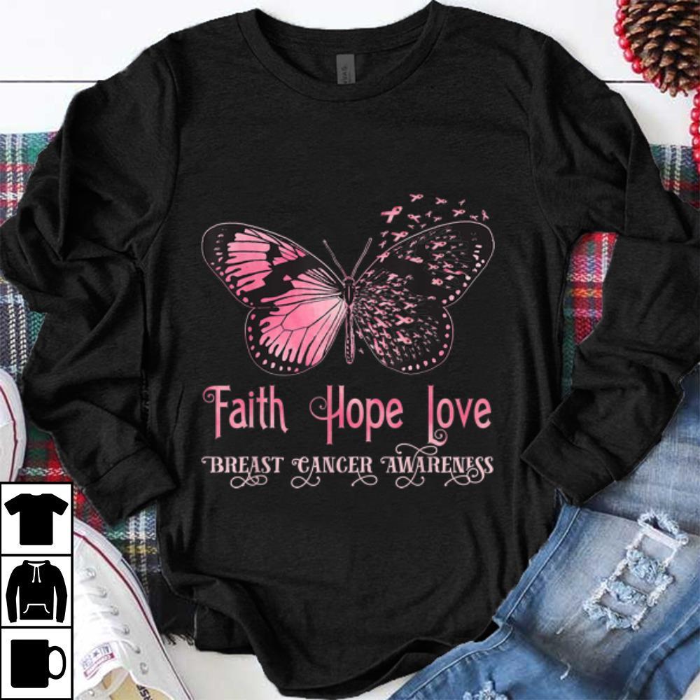 Top Faith Hope Love Pink Butterfly Breast Cancer Awareness shirt