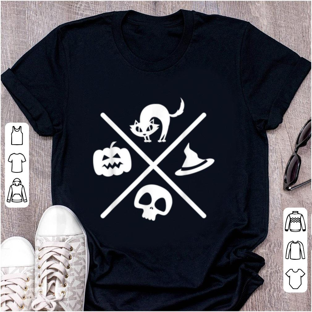 Top Halloween Black Cat Witch Skeleton Pumpkin X Design shirt
