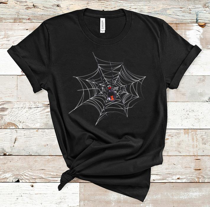 Top Halloweens Black Widow Spider On Cobweb shirt