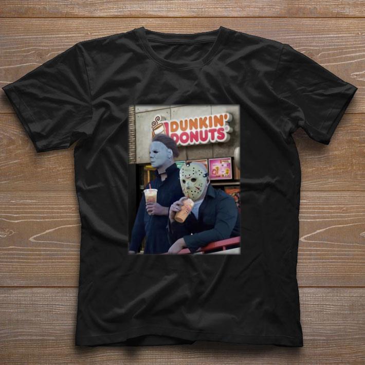 Top Michael Myers Jason Voorhees drink Dunkin' Donuts shirt