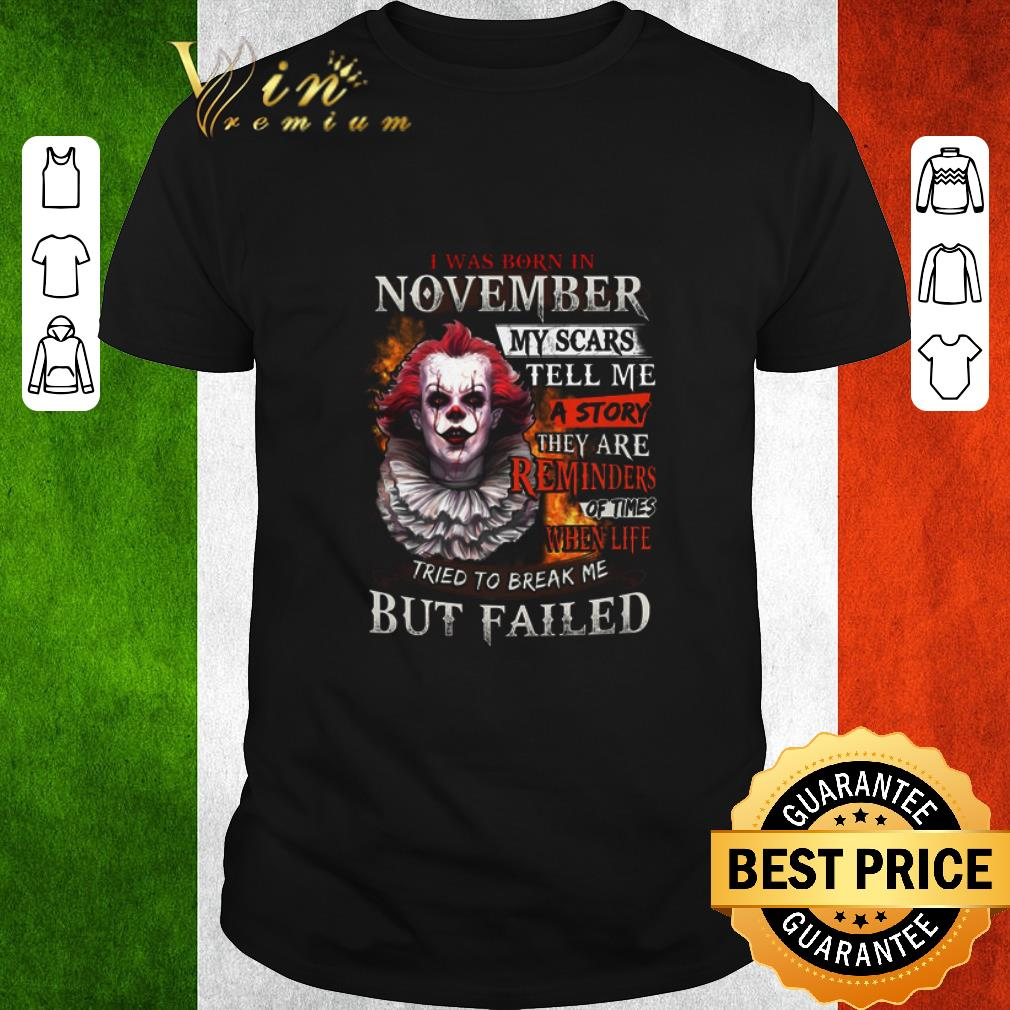 Top Pennywise i was born in november my scars tell me a story shirt