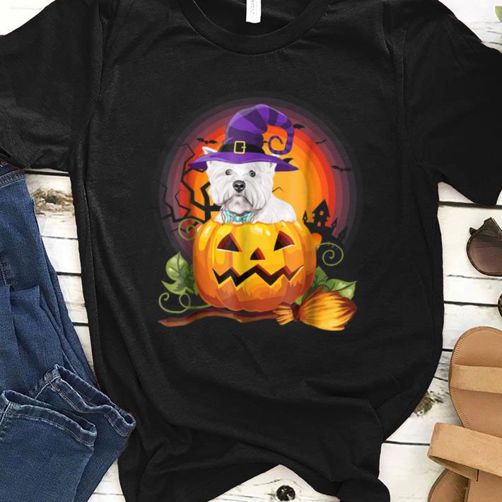Awesome Westie Scary Pumpkin Halloween Dog Lover Funny Gifts shirt