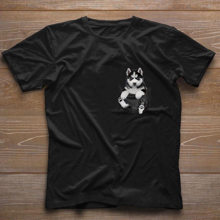 Nice Husky in tiny pocket shirt