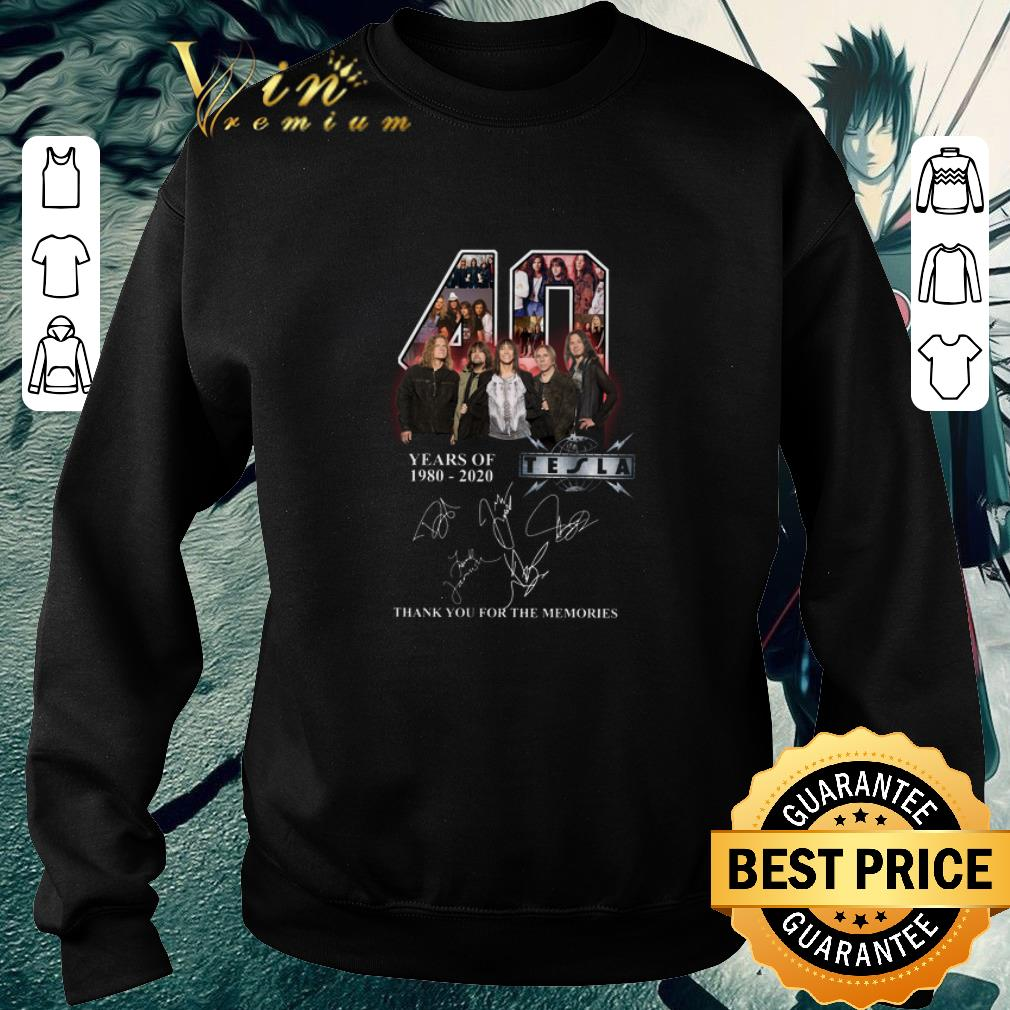Top 40 years of 1980 2020 Tesla band signatures shirt 4 - Top 40 years of 1980-2020 Tesla band signatures shirt