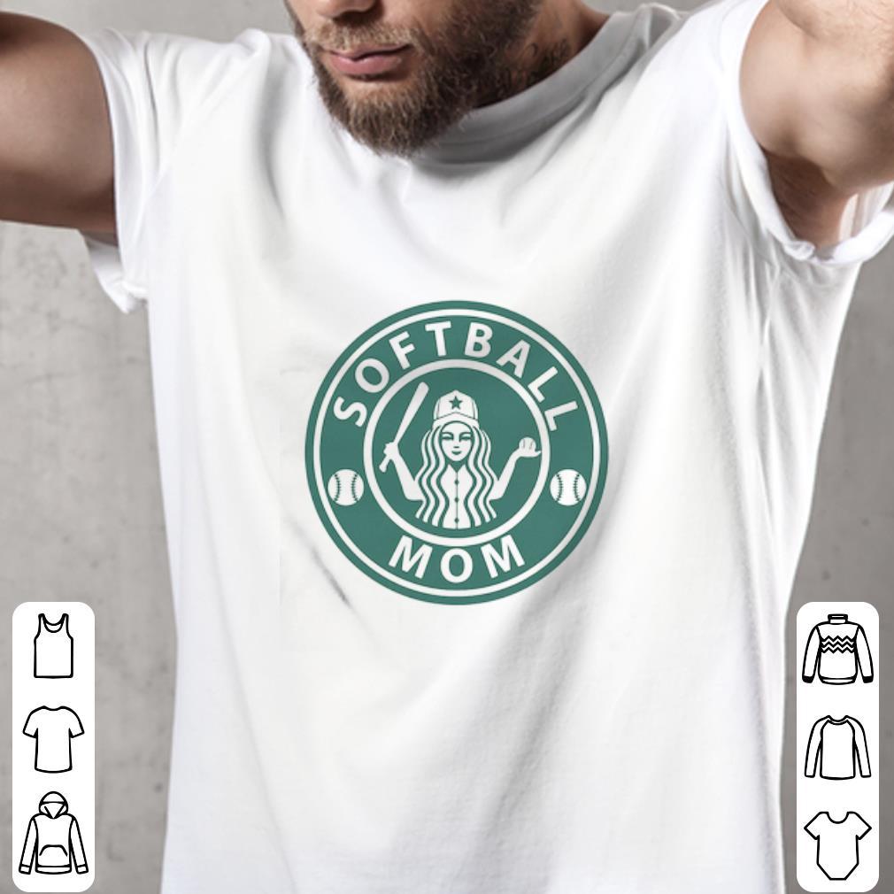 Funny Softball Mom Mashup Starbucks Logo shirt 2