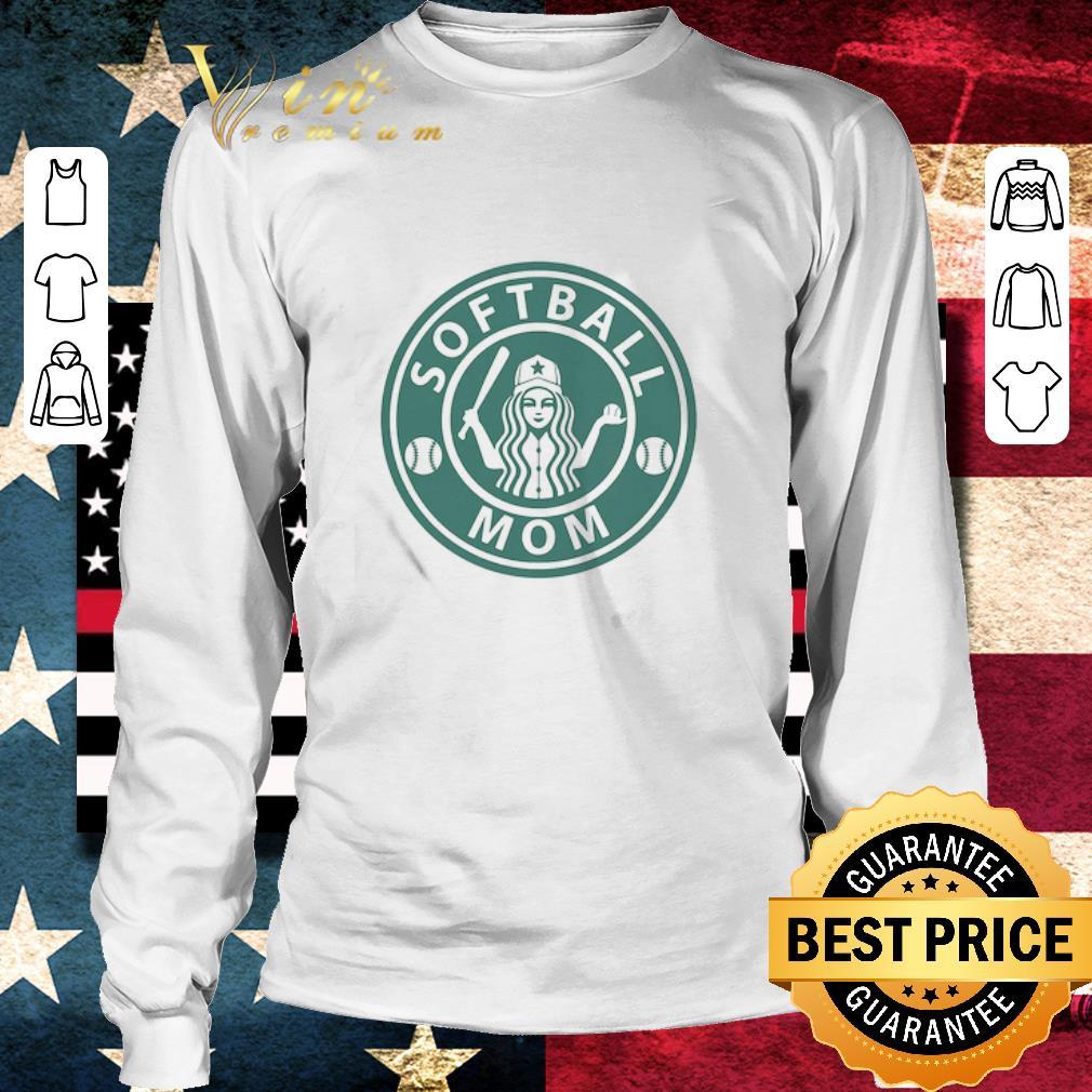 Funny Softball Mom Mashup Starbucks Logo shirt 3