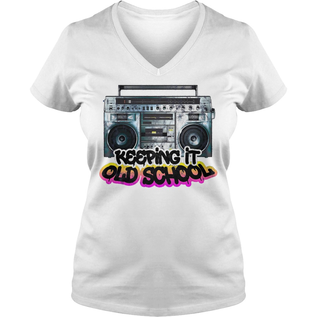 Keeping It Old School Vintage Boombox 80s V Neck