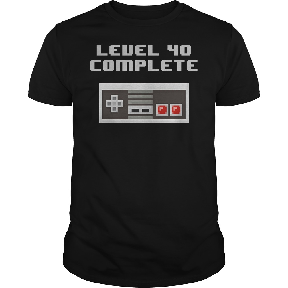 Level 40 Complete Retro Video Games 40th Birthday Shirt
