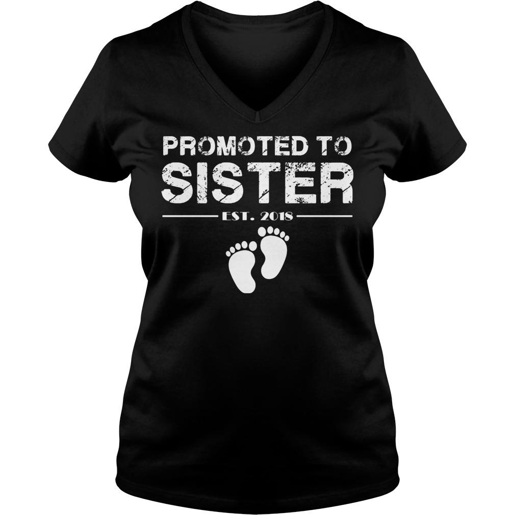 Promoted To Sister Est 2018 V Neck