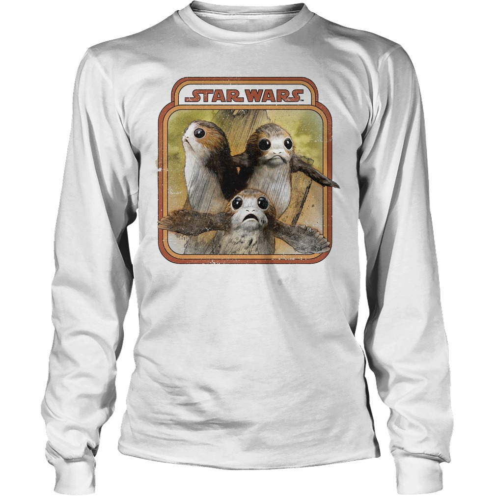 Star Wars Last Jedi Porg Triplets Retro Box Graphic Longsleeve