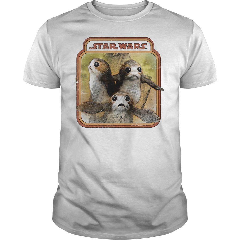 Star Wars Last Jedi Porg Triplets Retro Box Graphic Shirt