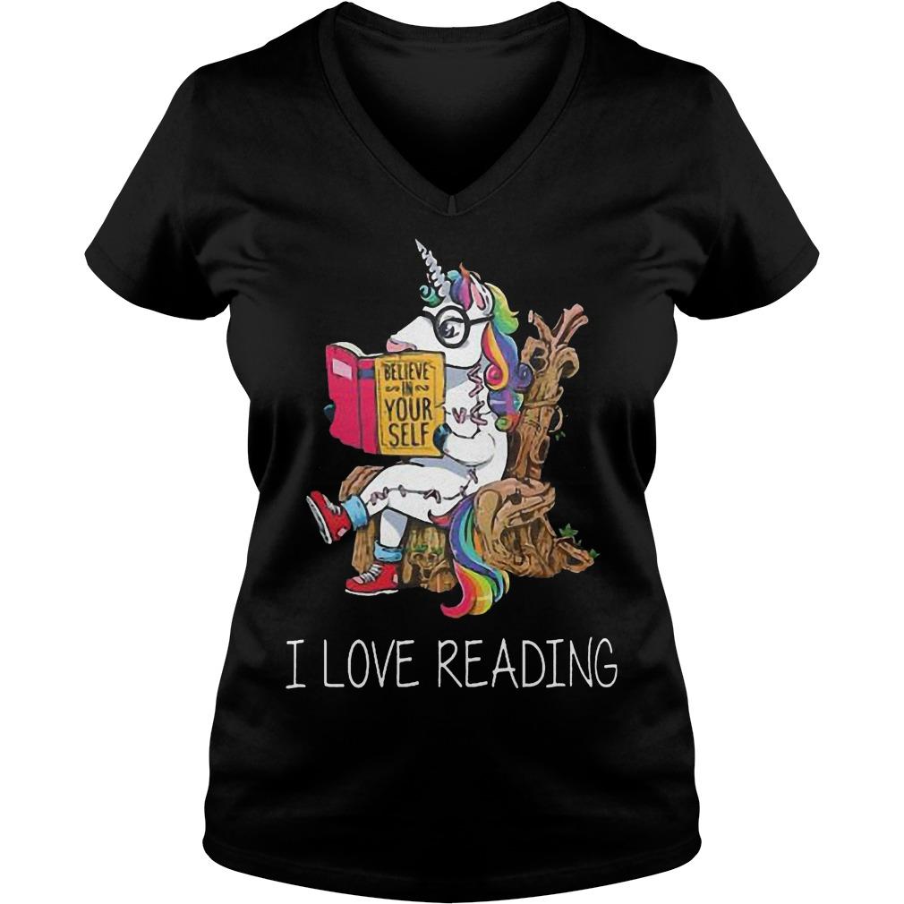Unicorn Believe In Yourself I Love Reading V Neck