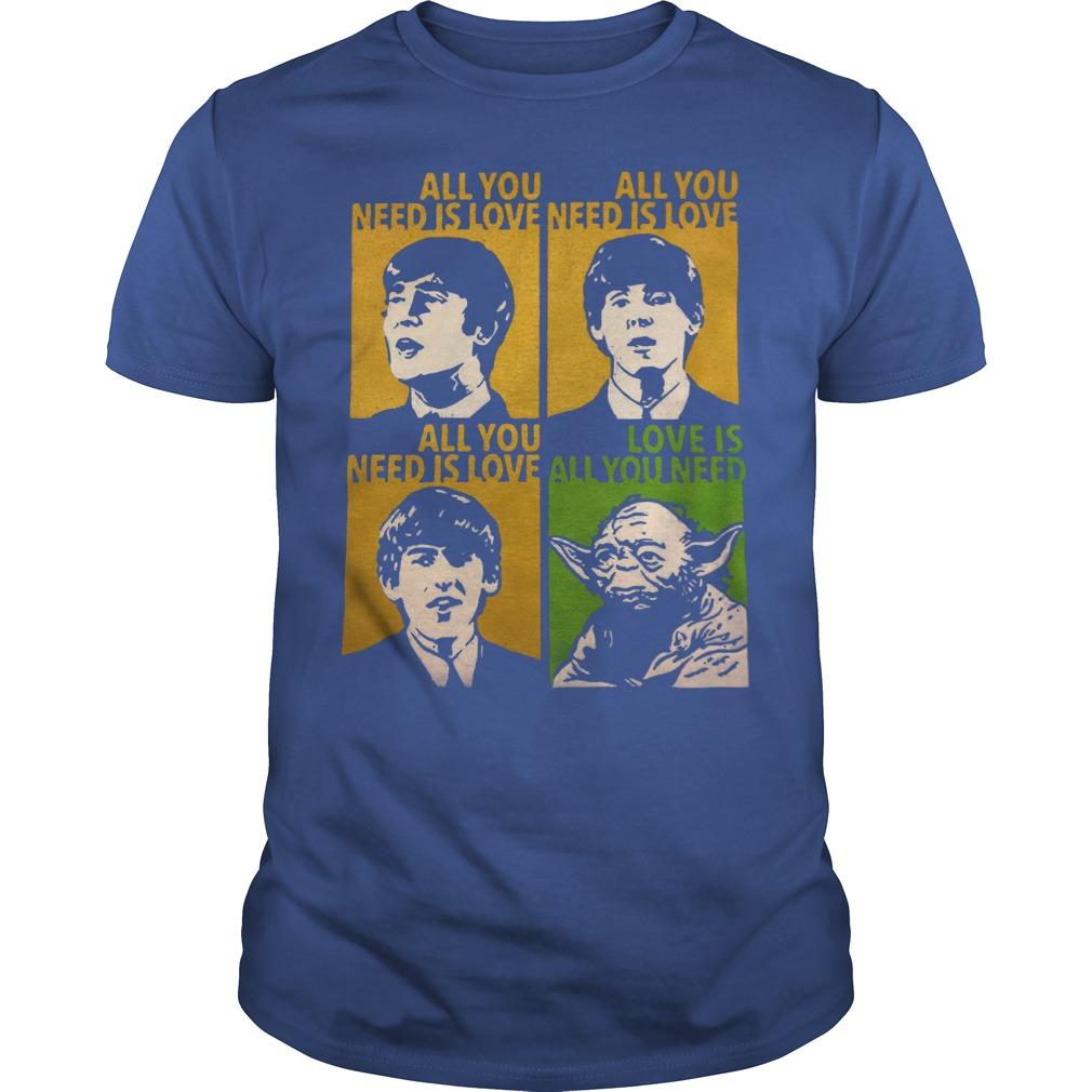 All You Need Is Love Beatles Yoda Shirt