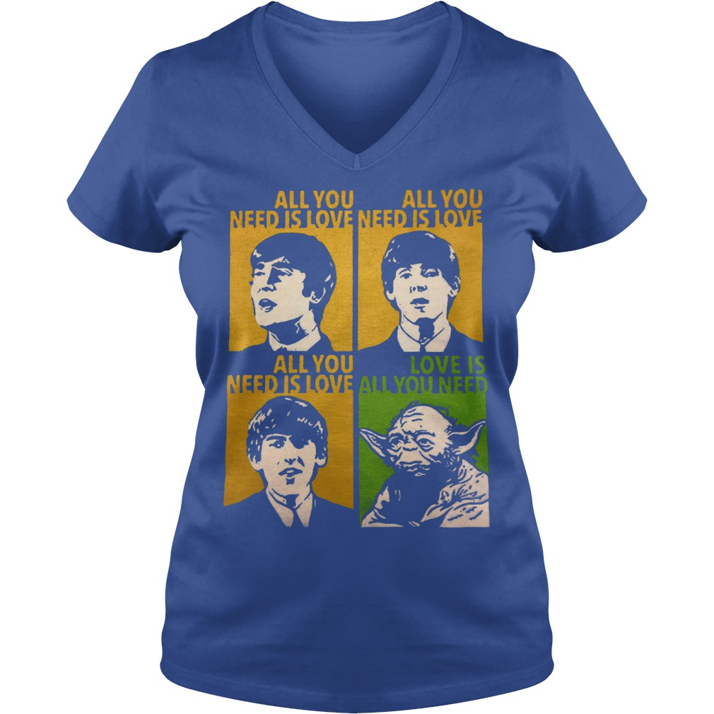 All You Need Is Love Beatles Yoda V Neck