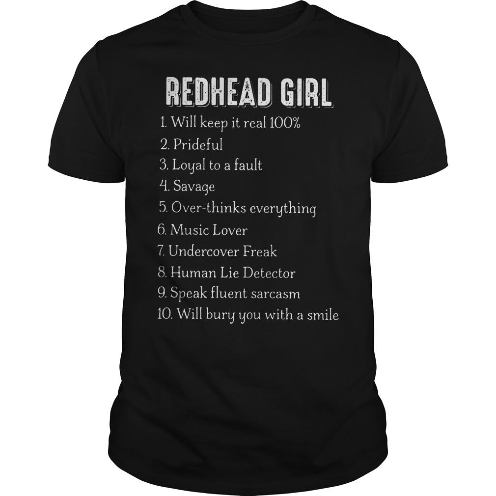 Redhead Girl Will Keep It Real 100% Shirt