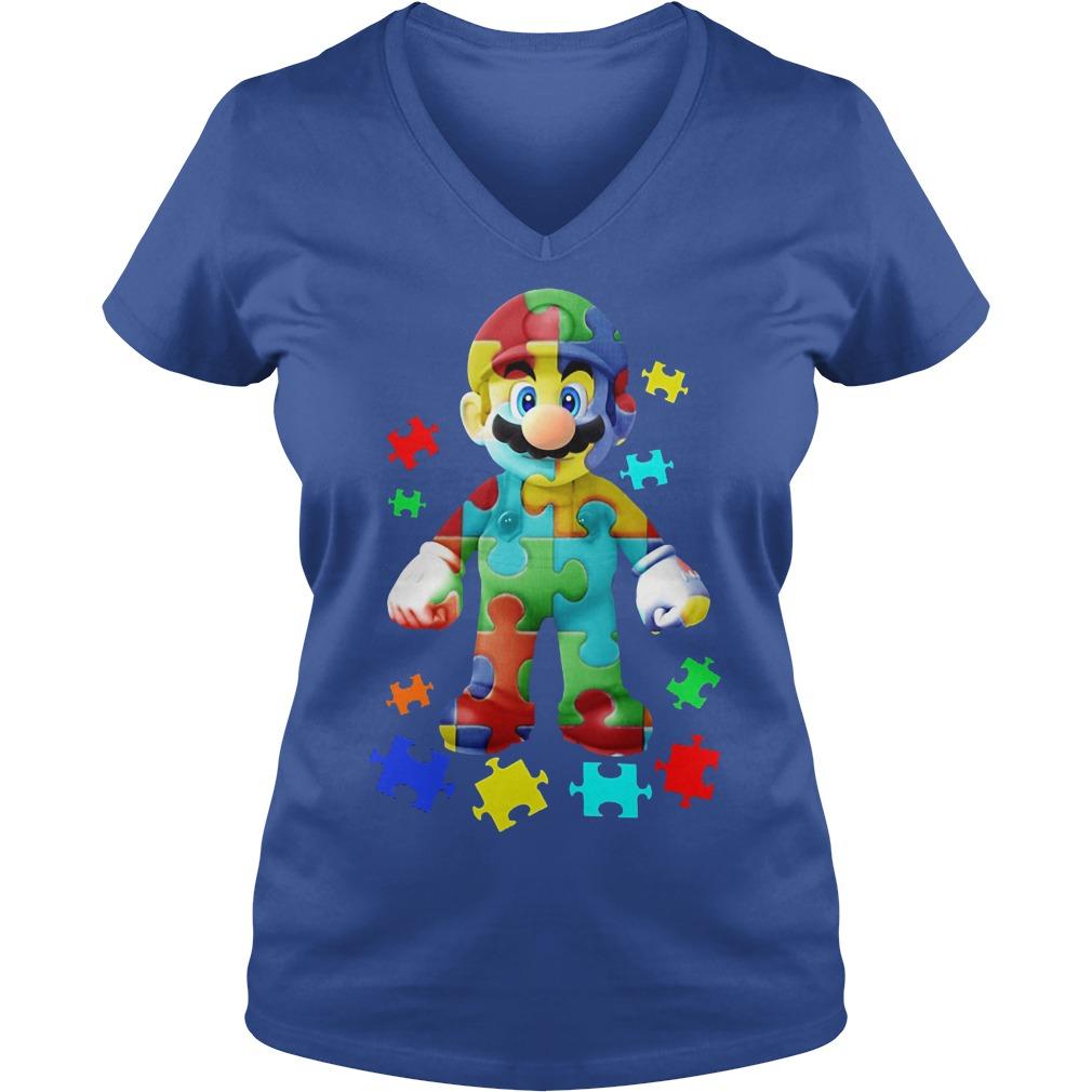 Super Mario Autism Awareness Ladies Vneck