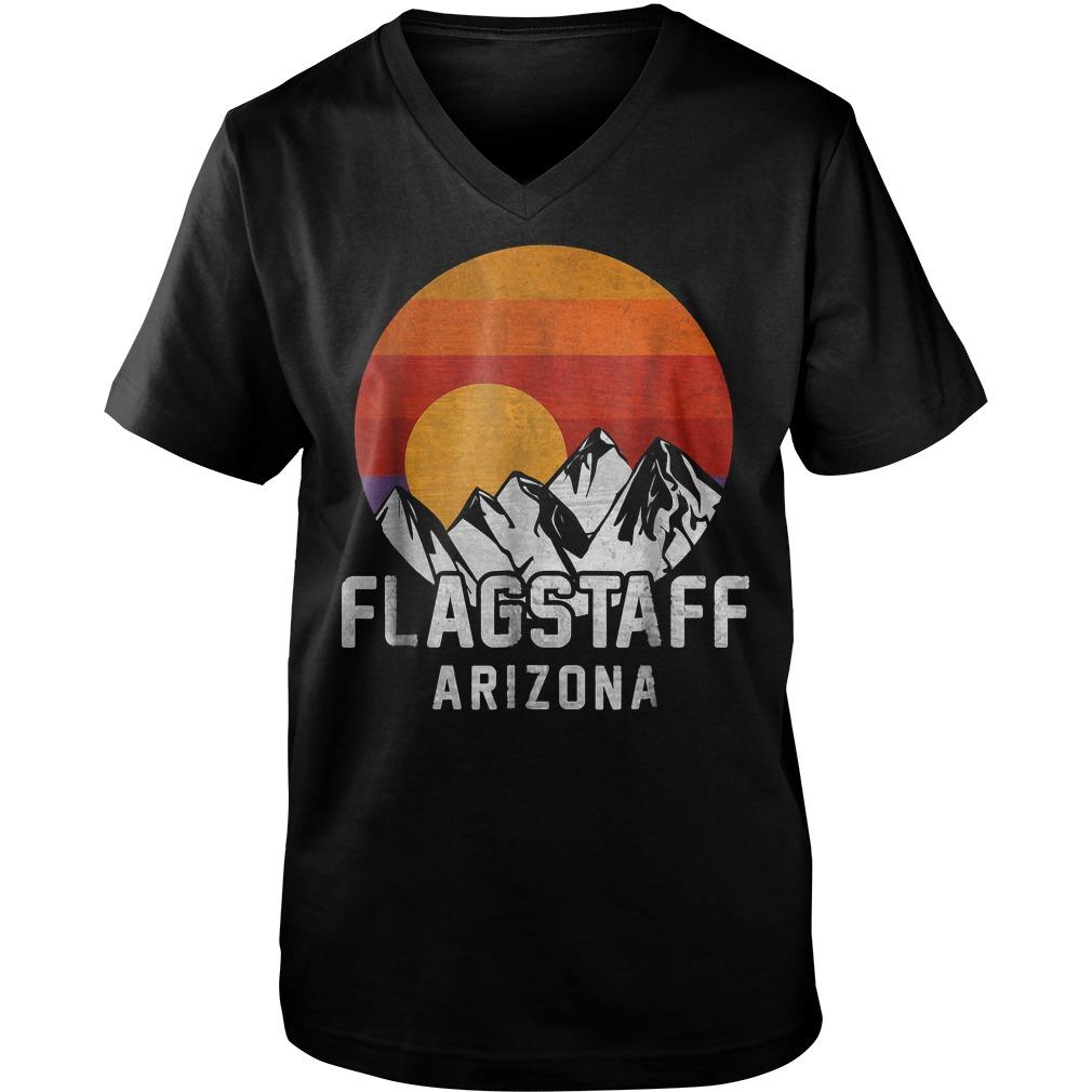 Flagstaff Arizona Retro Mountain Sunset T-Shirt Guys V-Neck