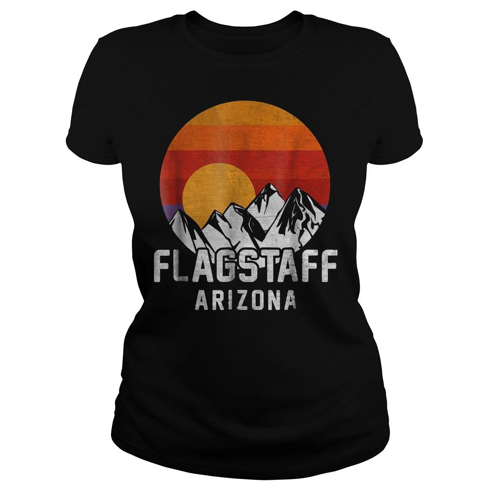 Flagstaff Arizona Retro Mountain Sunset T-Shirt Ladies Tee
