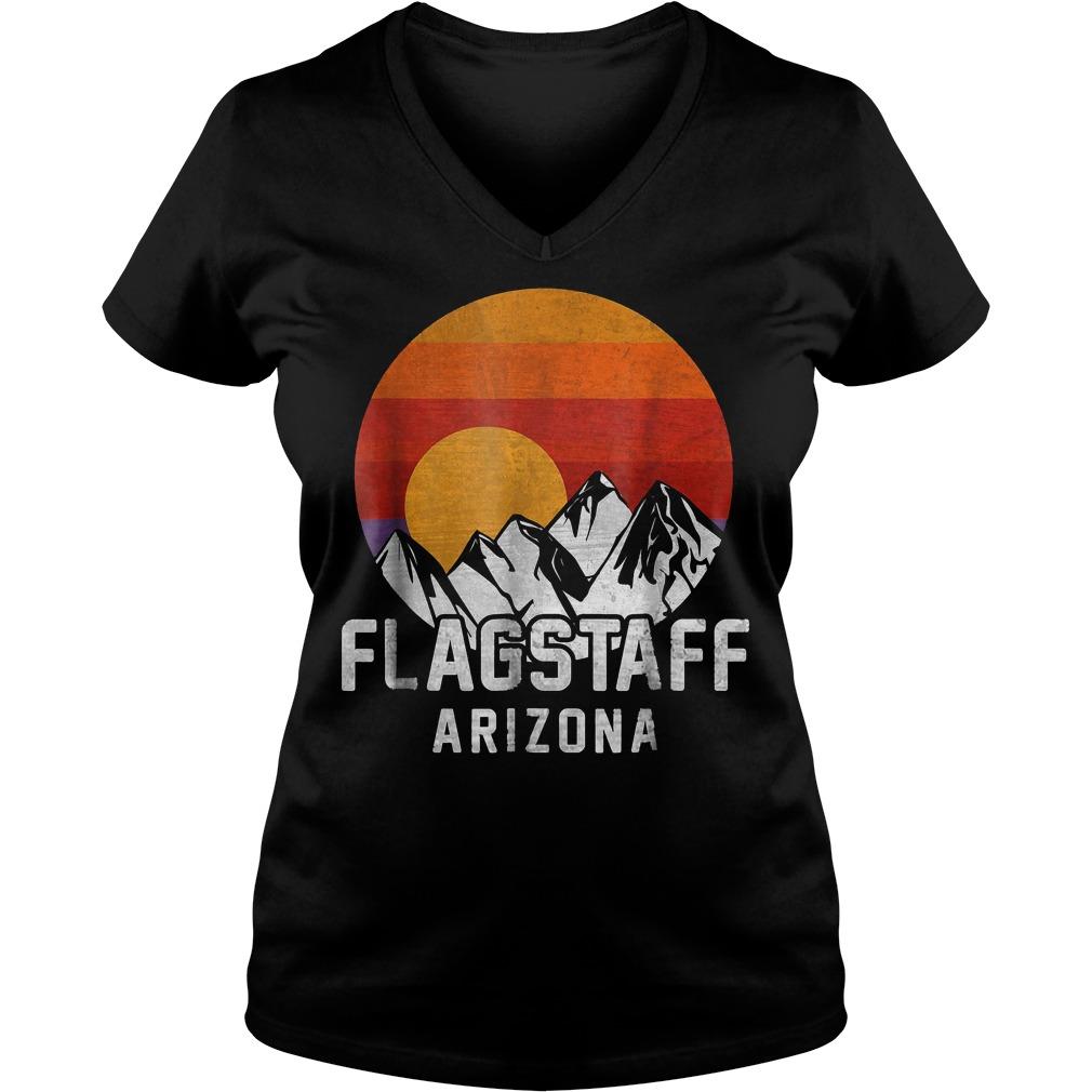 Flagstaff Arizona Retro Mountain Sunset T-Shirt Ladies V-Neck