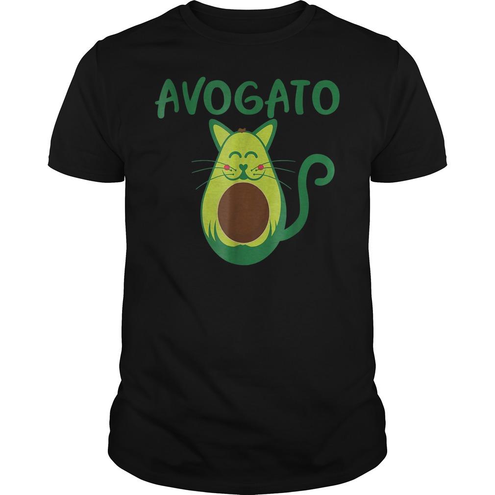 Funny Avogato Avocado Cat Face T-Shirt Guys Tee