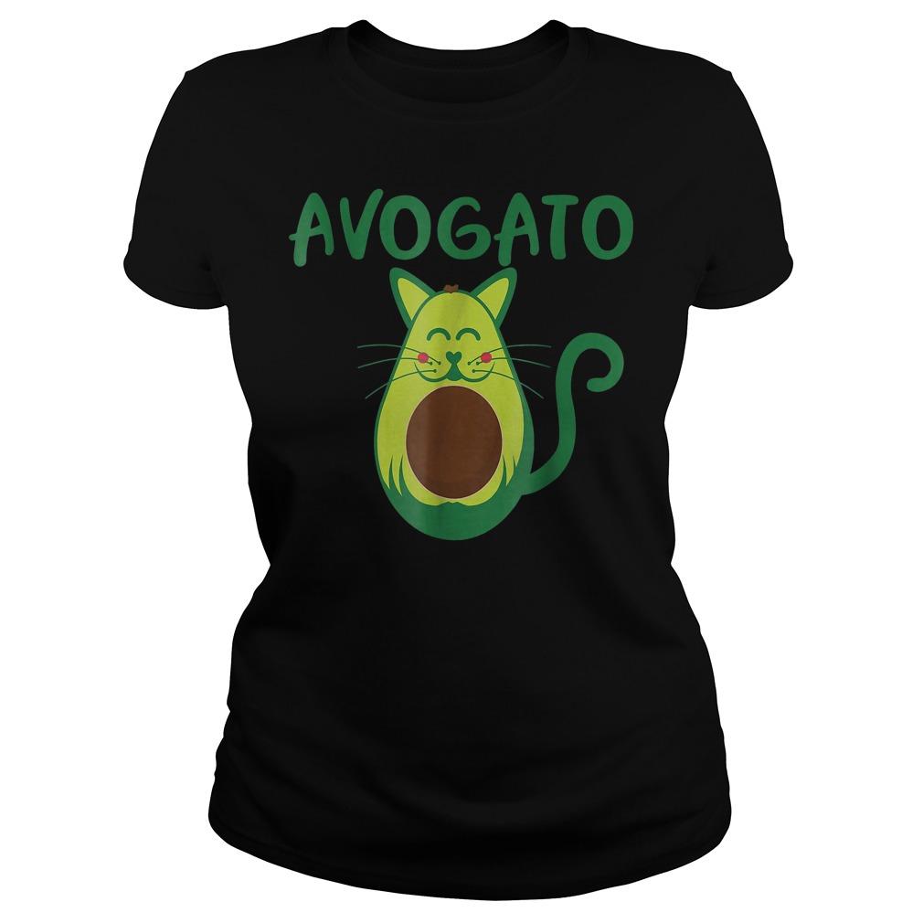 Funny Avogato Avocado Cat Face T-Shirt Ladies Tee