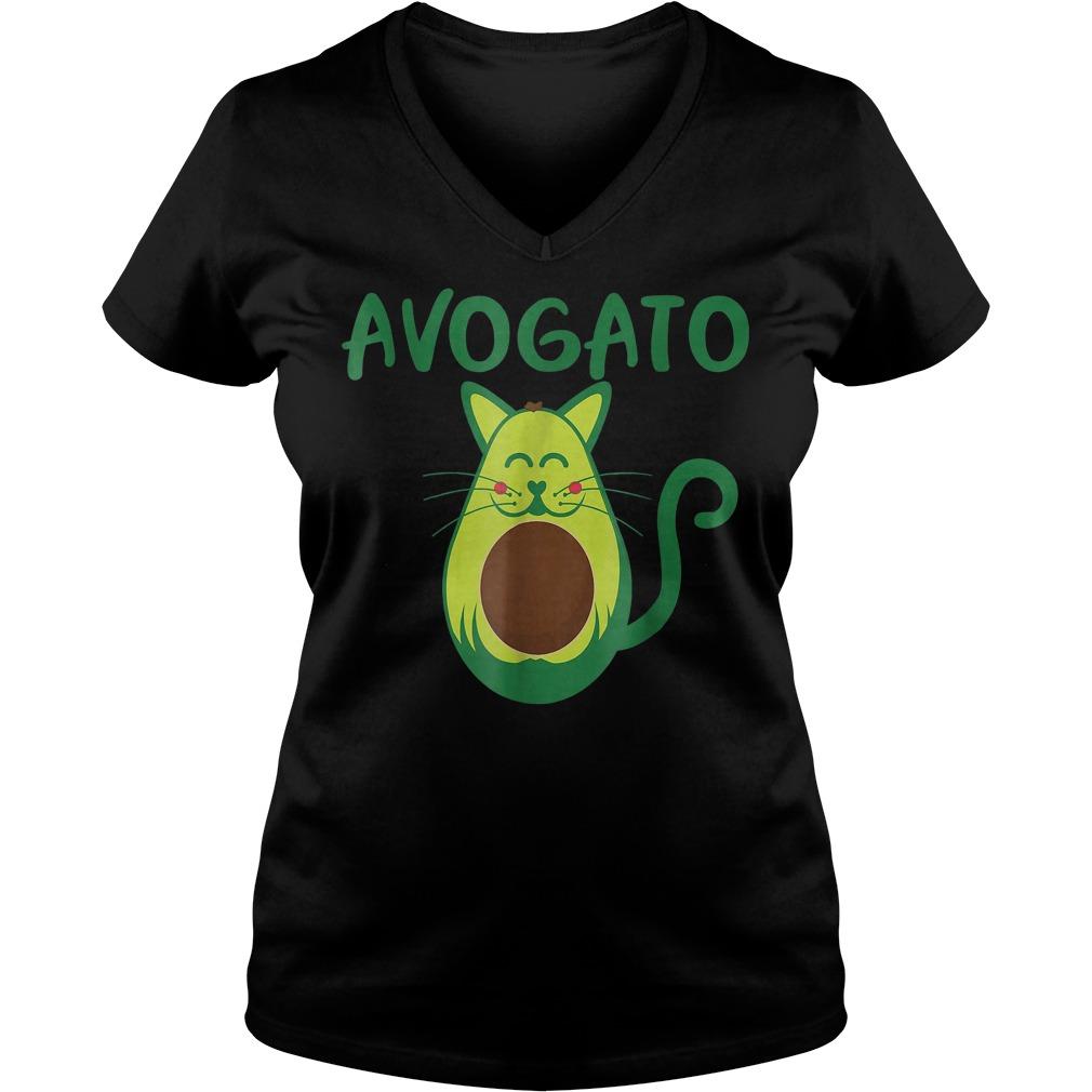 Funny Avogato Avocado Cat Face T-Shirt Ladies V-Neck