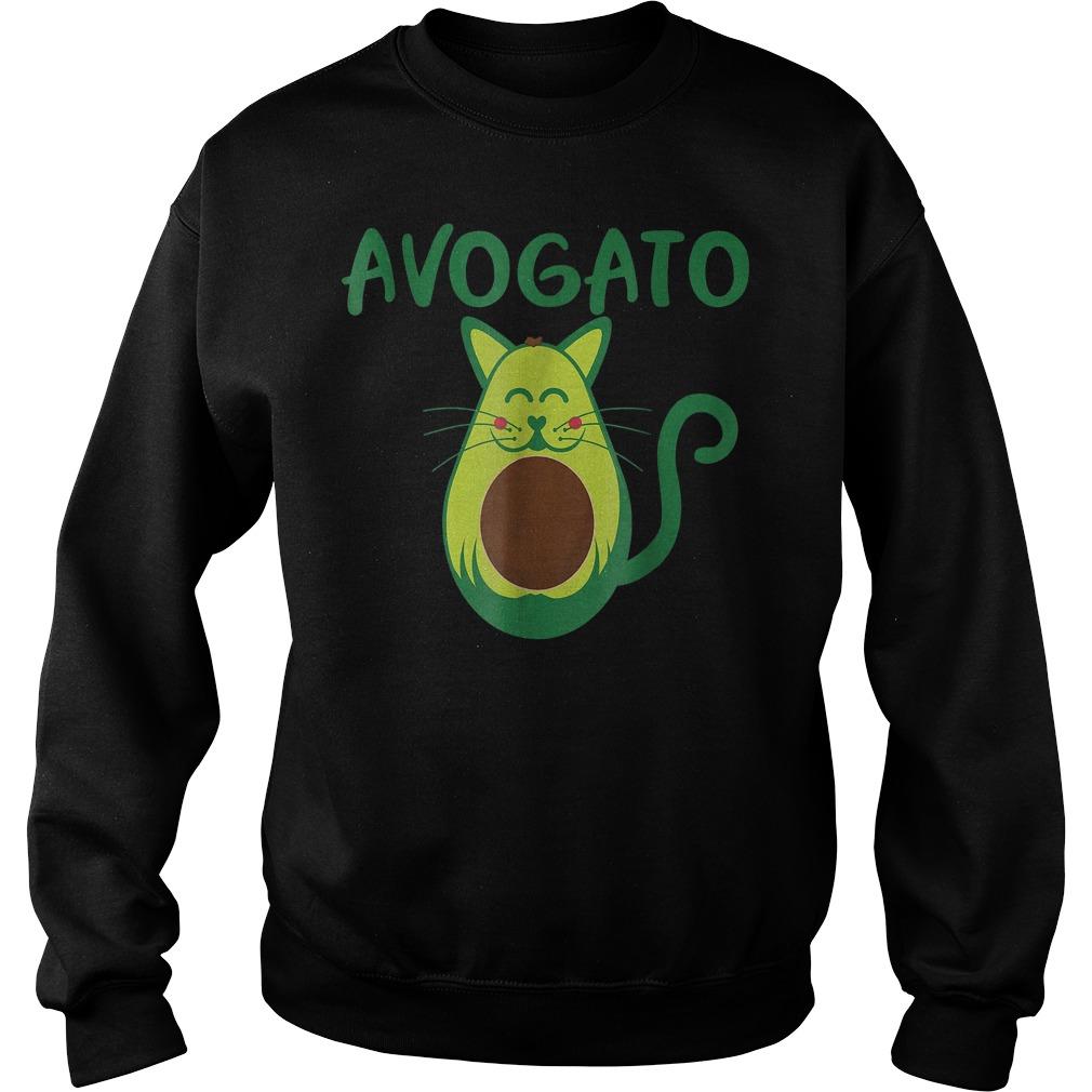 Funny Avogato Avocado Cat Face T-Shirt Sweat Shirt