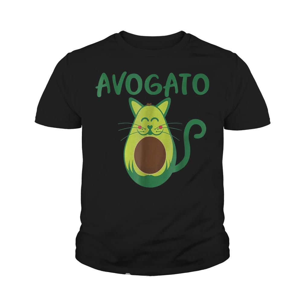 Funny Avogato Avocado Cat Face T-Shirt Youth Tee