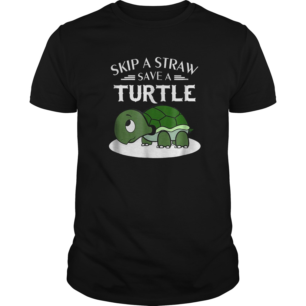 A Straw Save A Turtle T-Shirt Classic Guys / Unisex Tee
