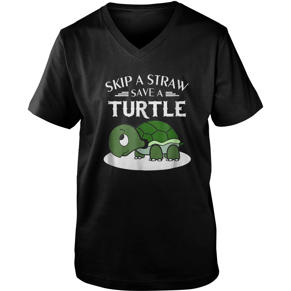 A Straw Save A Turtle T-Shirt Guys V-Neck