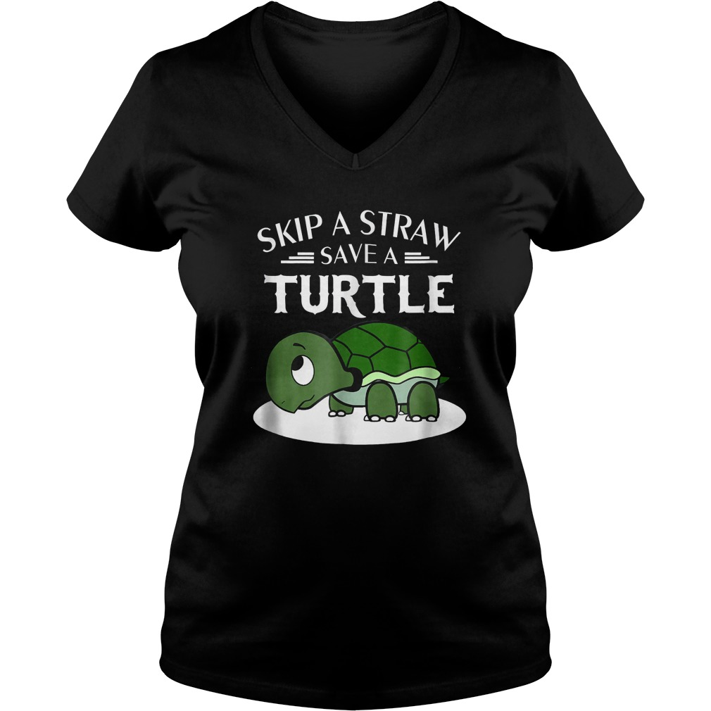 A Straw Save A Turtle T-Shirt Ladies V-Neck