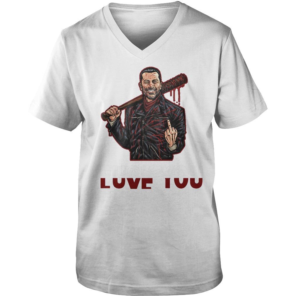 Negan Fuck You Love You T-Shirt Guys V-Neck
