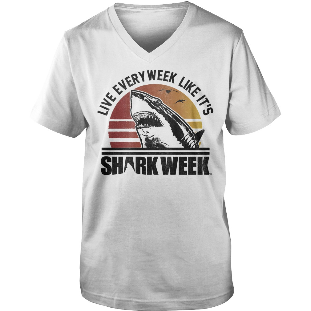 Official Shark Week Live Every Week Like It's T-Shirt Guys V-Neck