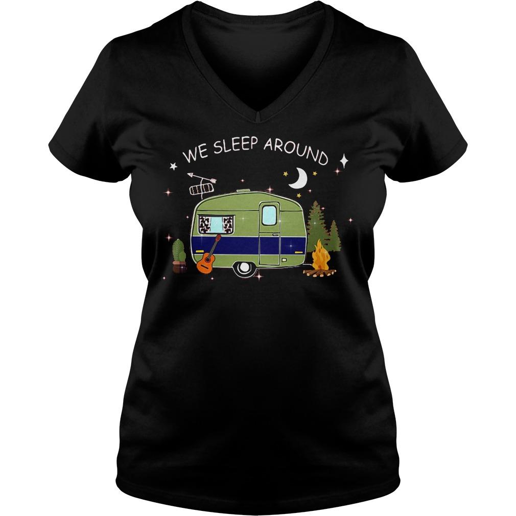 Premium Camping We Sleep Around T-Shirt Ladies V-Neck