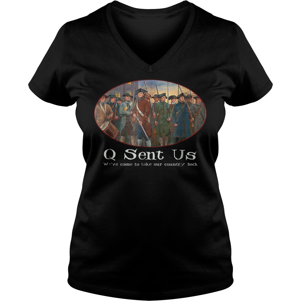 Qanon Where We Go One We Go All Sent Us Maga T-Shirt Ladies V-Neck